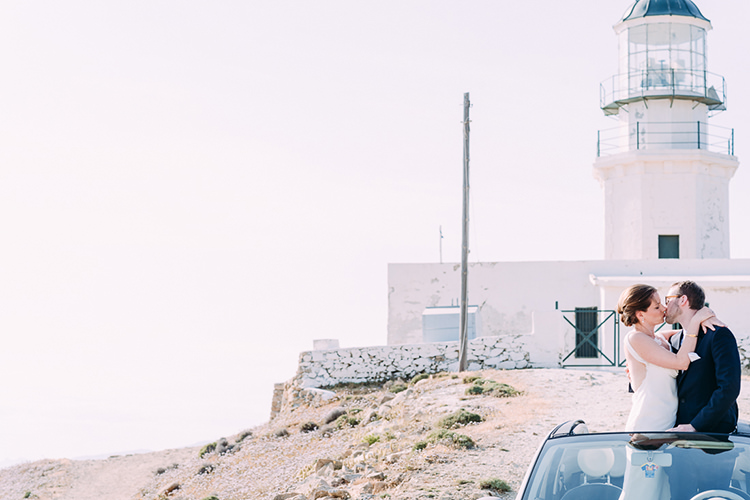 Bride Groom Kiss Lighthouse Car Breathtaking Intimate Mykonos Destination Wedding http://www.annapumerphotography.com/