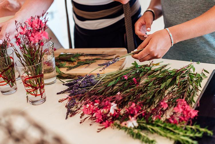 Pink White Purple Flower Arranging Florals Breathtaking Intimate Mykonos Destination Wedding http://www.annapumerphotography.com/