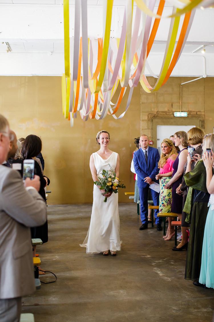 Ribbon Ceiling Bride Bridal Aisle Ceremony Creative DIY Industrial Warehouse Wedding http://www.michellehill.ca/