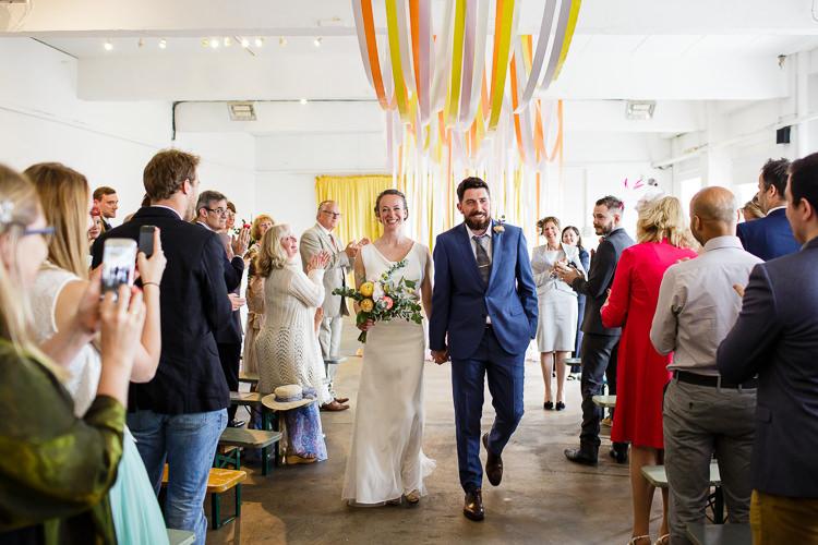 Ribbon Backdrop Ceremony Creative DIY Industrial Warehouse Wedding http://www.michellehill.ca/