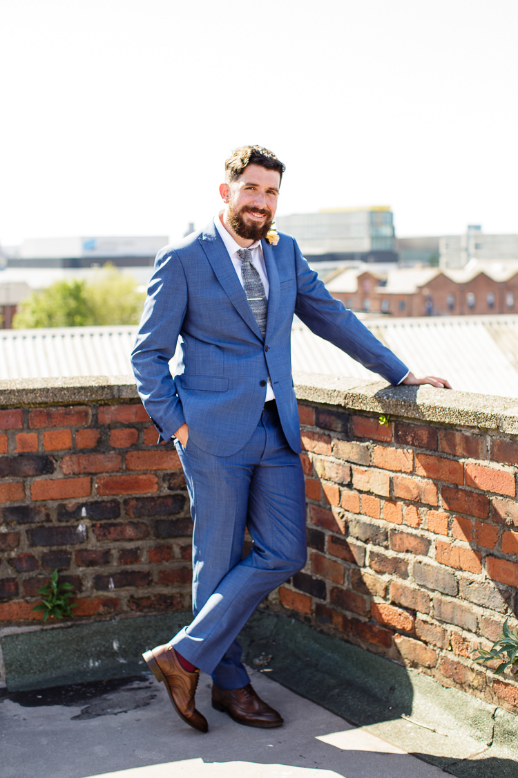 Blue Suit Groom Grey Knitted Tie Creative DIY Industrial Warehouse Wedding http://www.michellehill.ca/