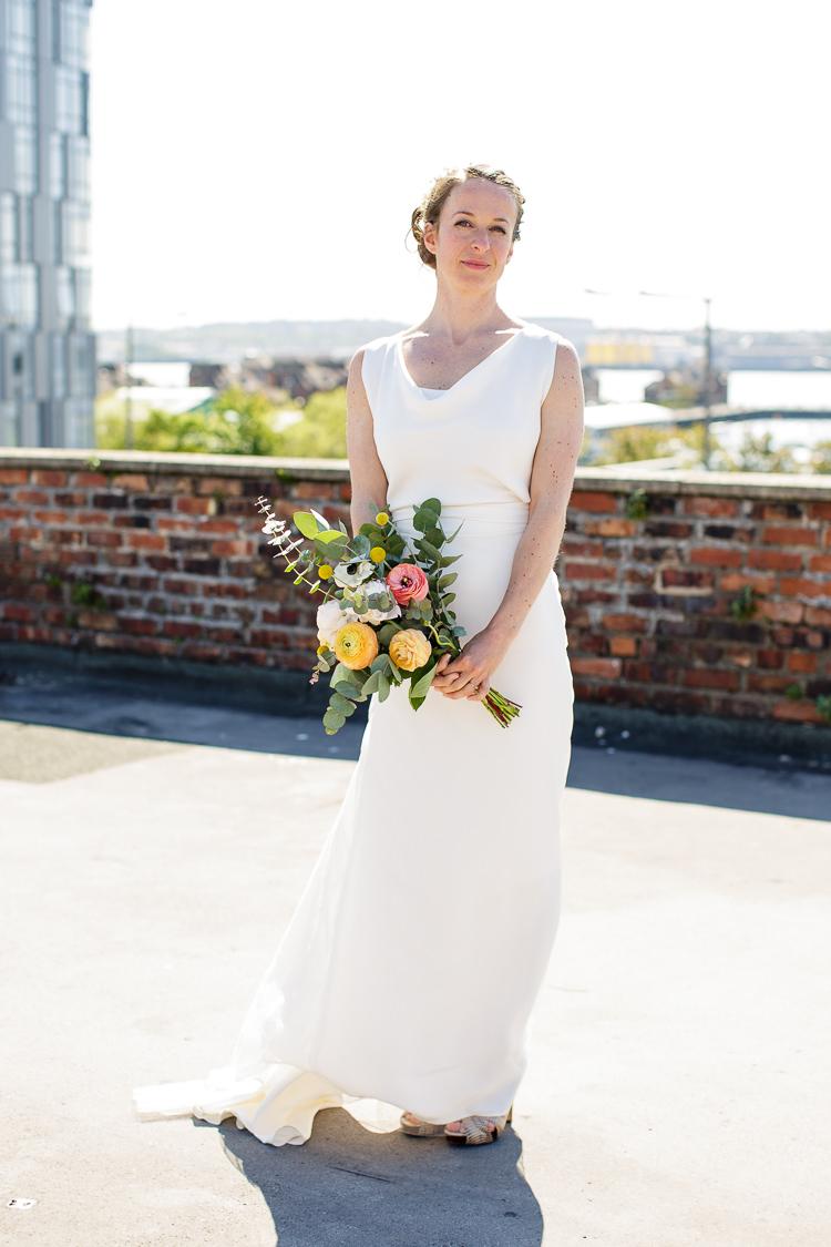 Hand Made Dress Gown Bride Bridal Creative DIY Industrial Warehouse Wedding http://www.michellehill.ca/