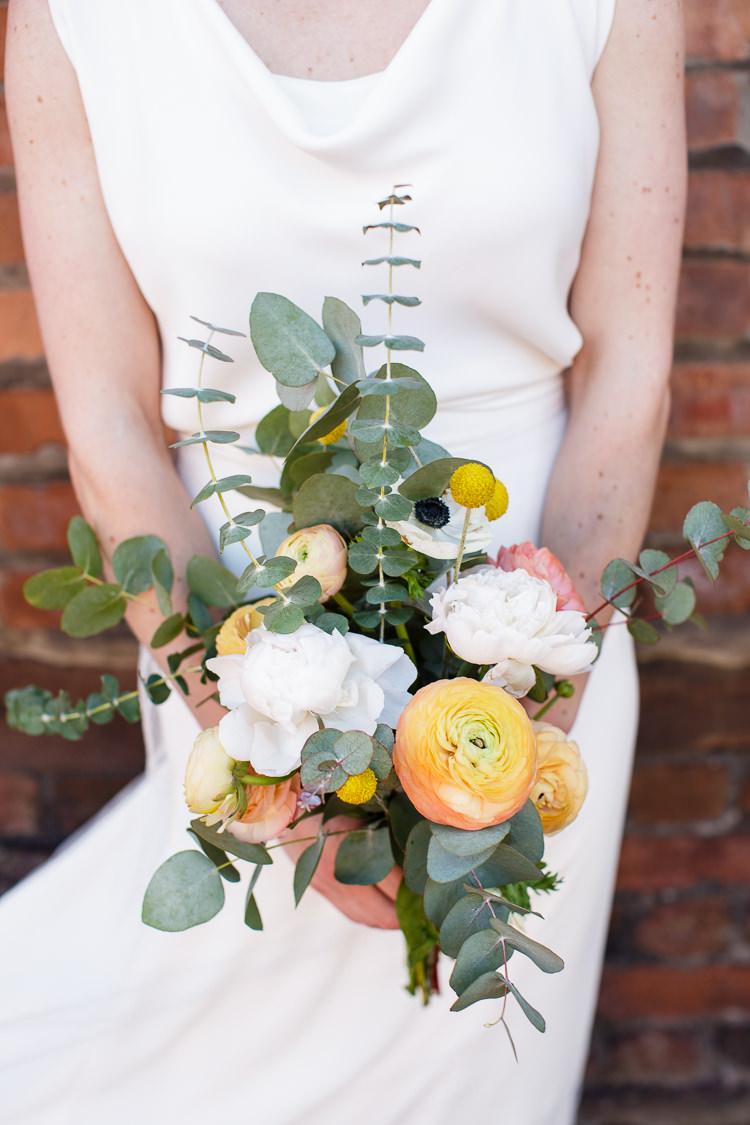 Bouquet Flowers Bride Bridal Orange Coral Ranunculus Creative DIY Industrial Warehouse Wedding http://www.michellehill.ca/