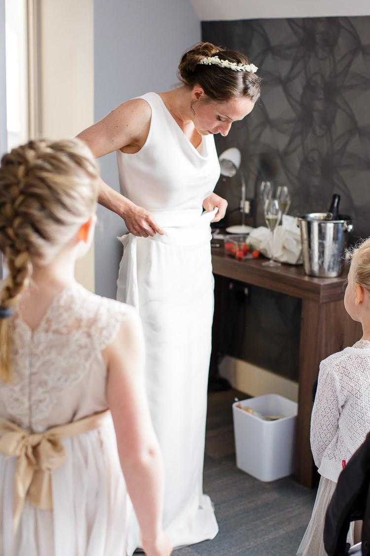 Dress Bride Bridal Home Made Cowl Neck Sash Creative DIY Industrial Warehouse Wedding http://www.michellehill.ca/