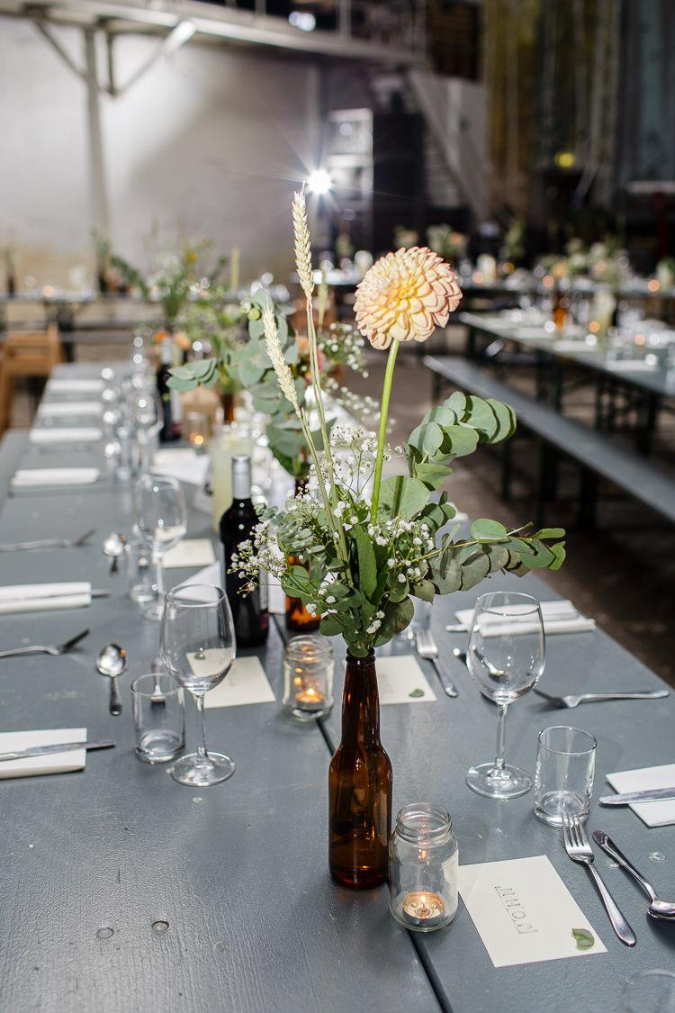 Beer Bottle Flowers Dahlia Orange Creative DIY Industrial Warehouse Wedding http://www.michellehill.ca/