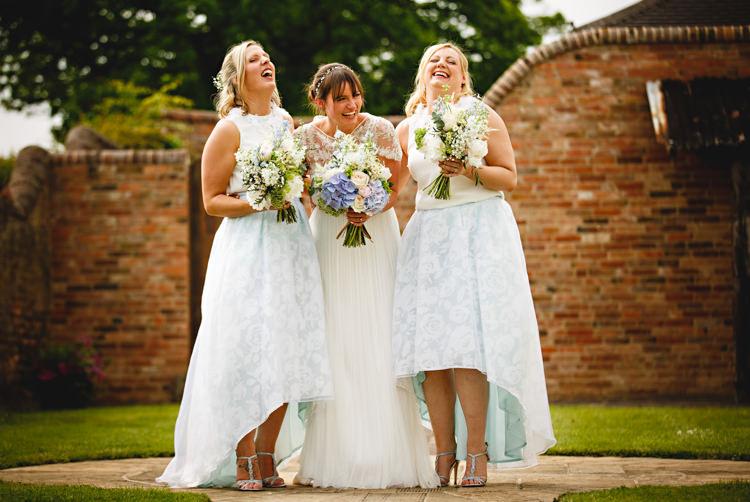 Bridesmaids Skirts Coast Tops Floral Blue Casual Festival Feel Barn Wedding http://hbaphotography.com/