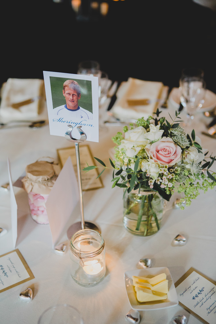 Jar Flowers Candles Table Decor Soft Navy Pink Classic Wedding http://www.racheljoycephotography.co.uk/