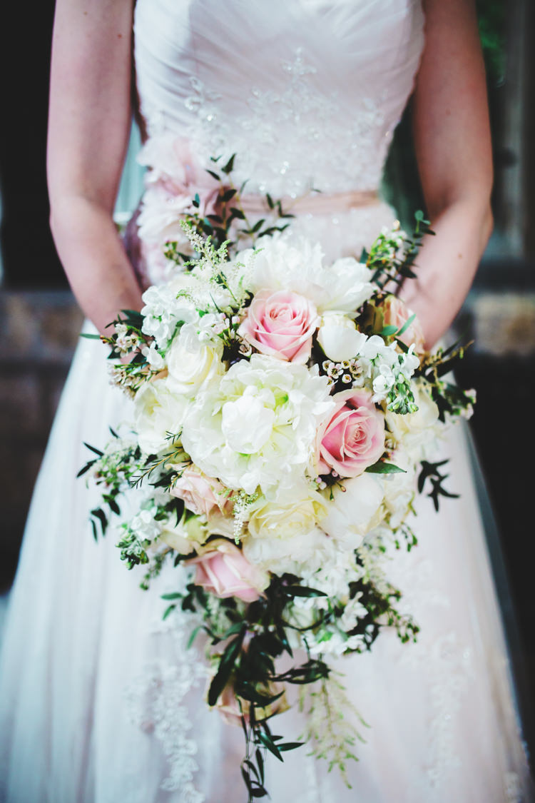 Bouquet Flowers Bride Bridal Large Cascading Roses Peonies Soft Navy Pink Classic Wedding http://www.racheljoycephotography.co.uk/
