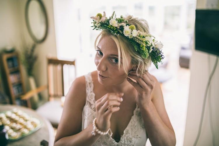 Flower Crown Bride Bridal Bohemian Home Made Farm Wedding http://www.jessyarwood.co.uk/