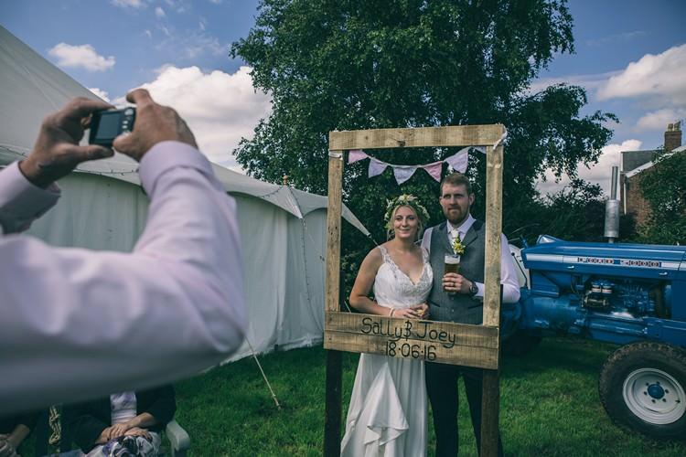 Tracror Frame Photo Booth Bohemian Home Made Farm Wedding http://www.jessyarwood.co.uk/