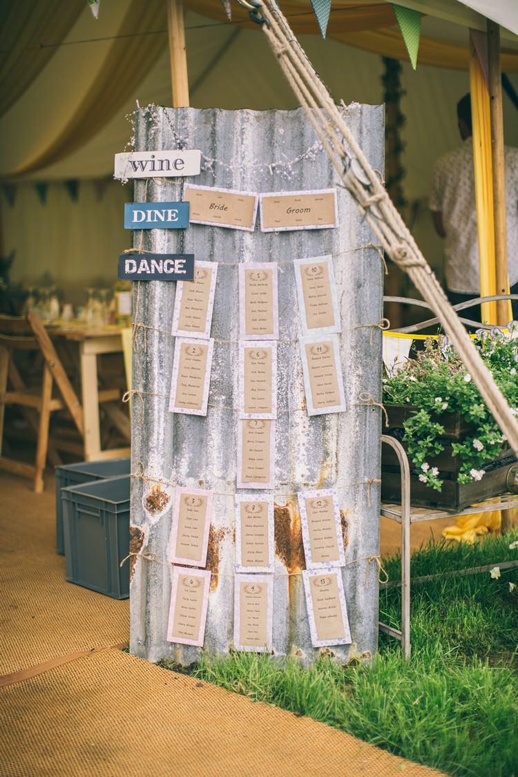 Corrugated Roof Metal Table Seating Plan Rustic  Bohemian Home Made Farm Wedding http://www.jessyarwood.co.uk/