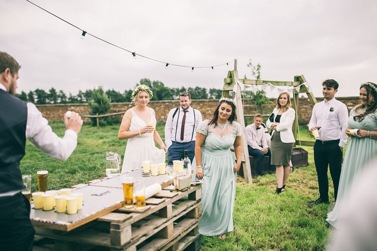 Beer Pong Game Bohemian Home Made Farm Wedding http://www.jessyarwood.co.uk/