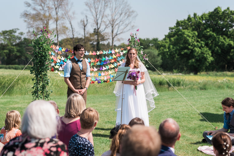 Origami Crane Backdrop Ceremony Outdoor DIY Farm Wedding http://www.markewelsphotography.com/