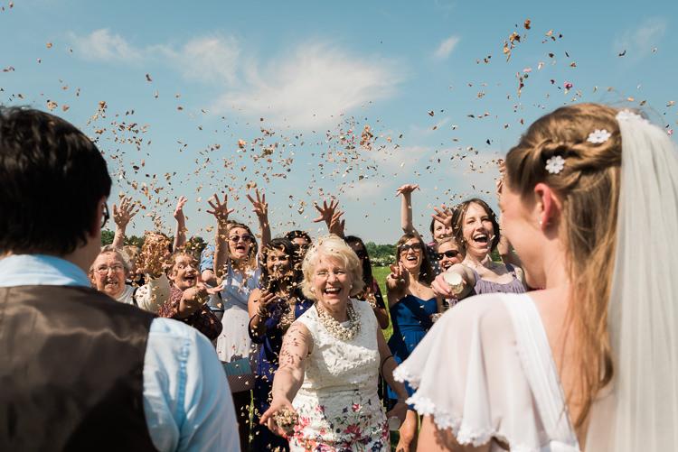 Confetti Petal Throw Outdoor DIY Farm Wedding http://www.markewelsphotography.com/