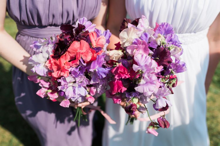 Sweet Pea Bouquets Flowers Bride Bridal Bridesmaid Outdoor DIY Farm Wedding http://www.markewelsphotography.com/
