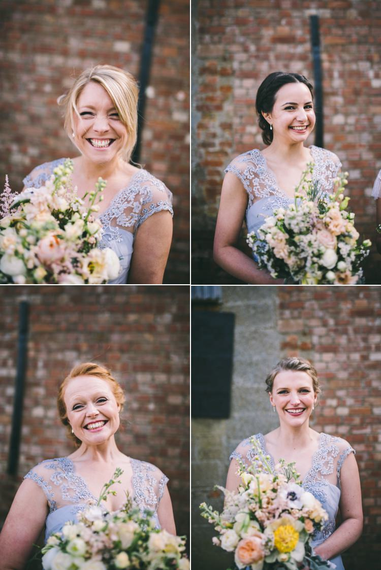 Grey Bridesmaid Dresses Peach Bouquets Home Made Country Festival Wedding http://www.jamespowellphotography.co.uk/