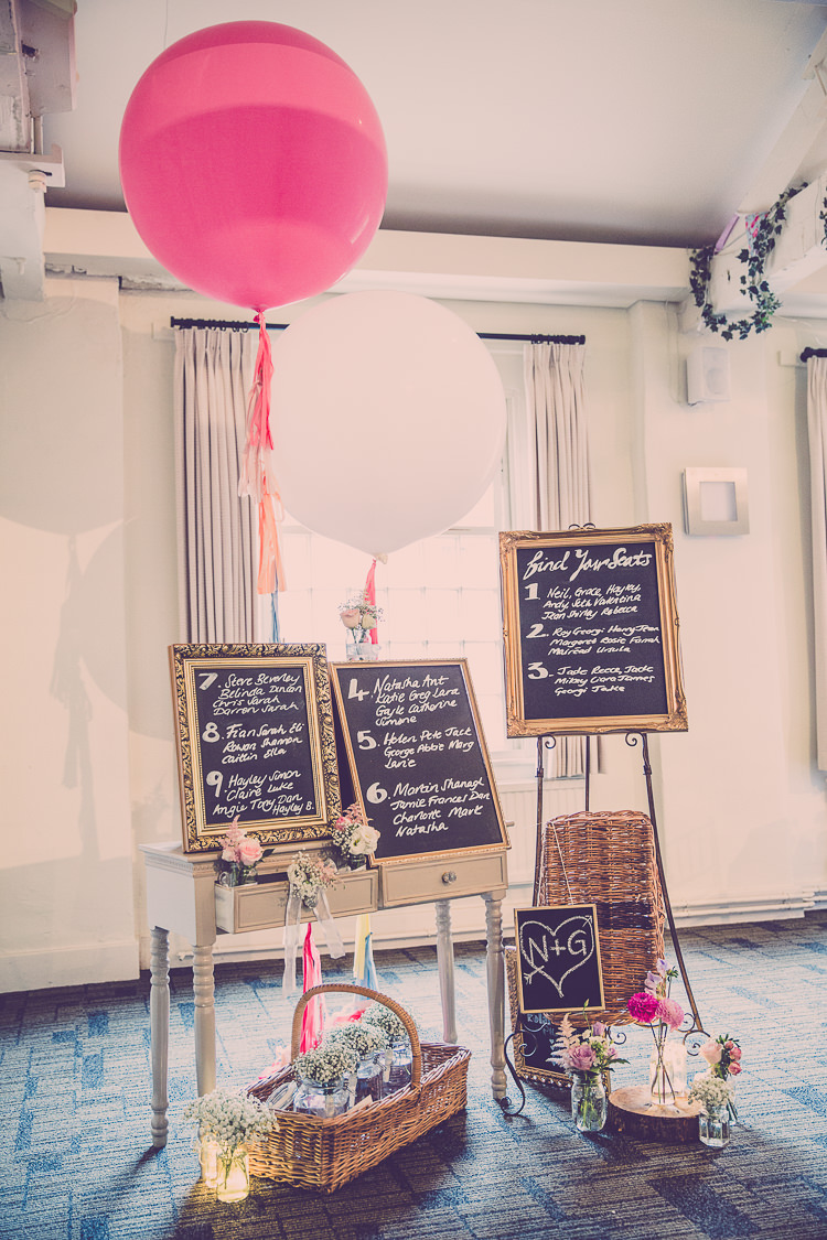 Decor Signs Chalk Black Board Balloons Baskets Relaxed English Country Garden Party Wedding http://hayleybaxterphotography.com/