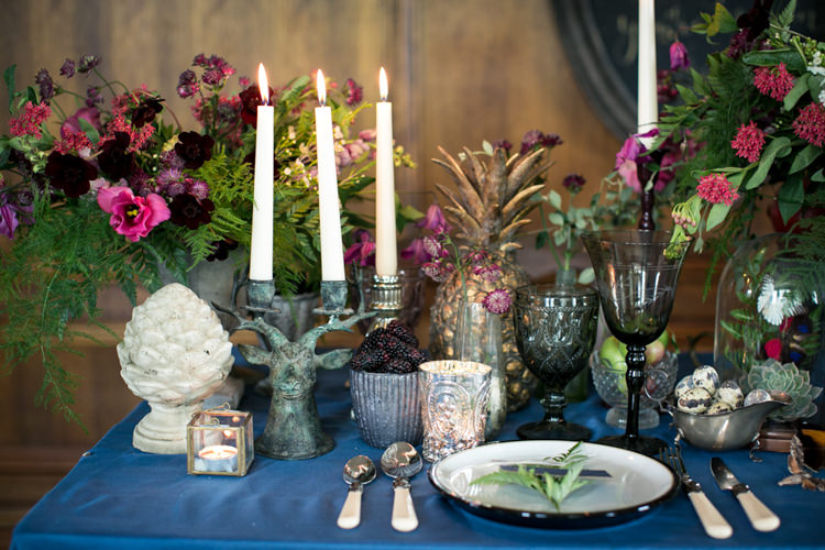 Flowers Table Decor Antique Berries Brown Green Cream Burgundy Candles Pineapple Wild Opulence Autumn Wedding Ideas http://www.storyweddingphotography.co.uk/