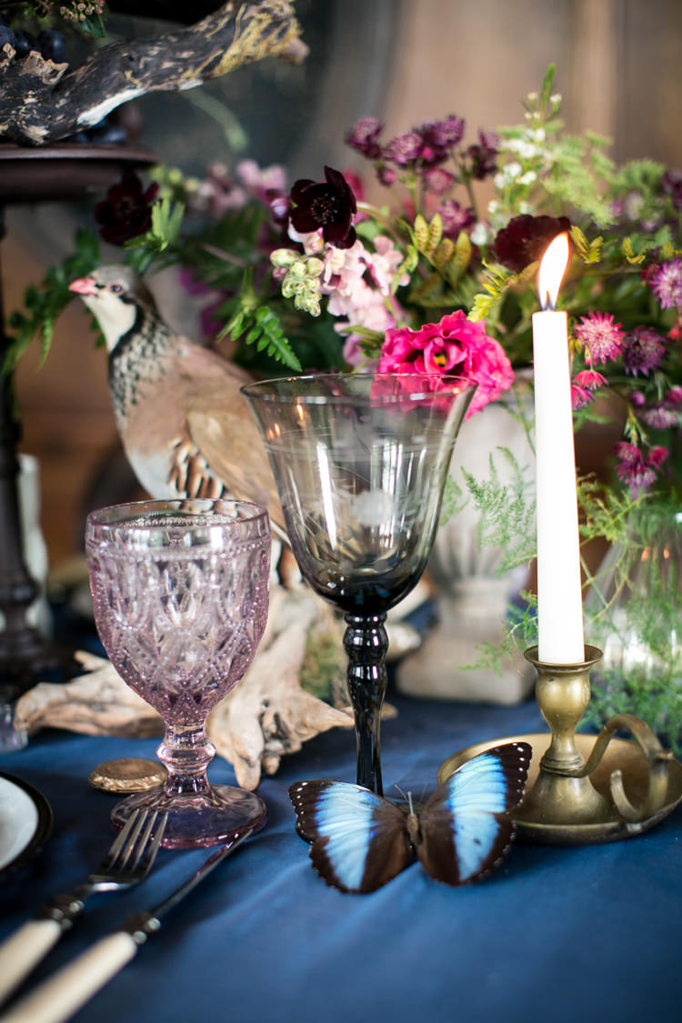 Flowers Table Decor Antique Berries Brown Green Candles Taxidermy Wild Opulence Autumn Wedding Ideas http://www.storyweddingphotography.co.uk/
