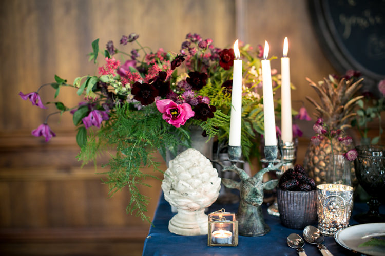 Flowers Table Decor Antique Berries Brown Green Cream Burgundy Cosmos Candles Snapdragons Zinnia Clematis Wild Opulence Autumn Wedding Ideas http://www.storyweddingphotography.co.uk/