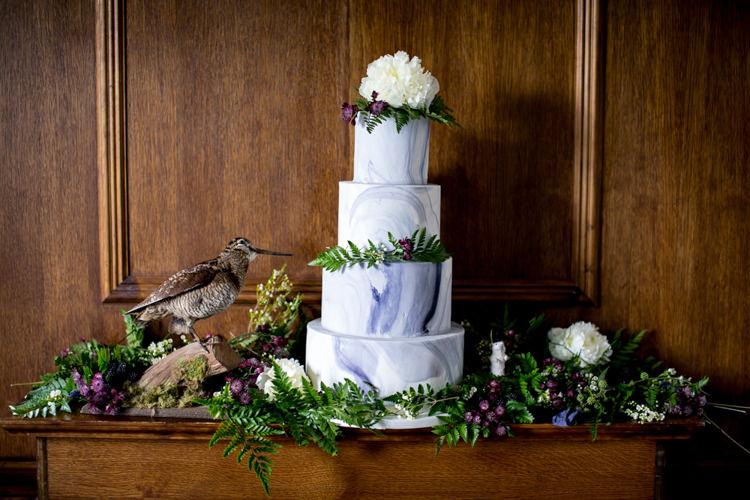 Marble Cake Blue White Flowers Ferns Wild Opulence Autumn Wedding Ideas http://www.storyweddingphotography.co.uk/