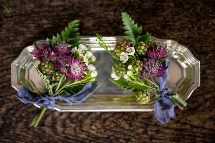 Buttonholes Berries Ferns Wild Opulence Autumn Wedding Ideas http://www.storyweddingphotography.co.uk/