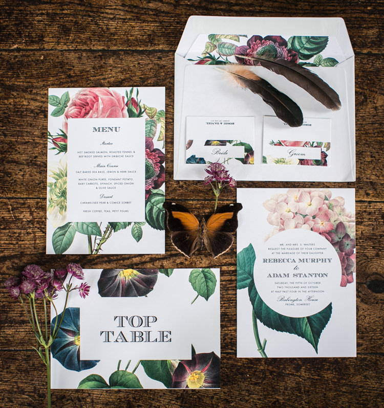 Floral Burgundy Red Green Floral Stationery Inviataions Feather Butterfly Wild Opulence Autumn Wedding Ideas http://www.storyweddingphotography.co.uk/