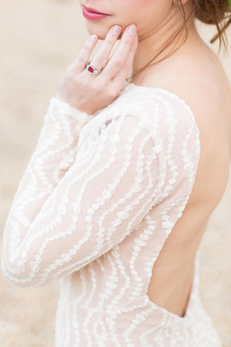 Dress Gown Sheer Bride Bridal Blush Jewellery Ring Ruby Fine Art Bohemian Luxe Wedding Ideas http://jessicadaviesphotography.co.uk/