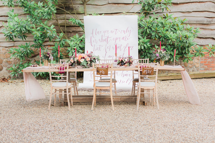 Table Backdrop Quote Words Rustic Fine Art Bohemian Luxe Wedding Ideas http://jessicadaviesphotography.co.uk/