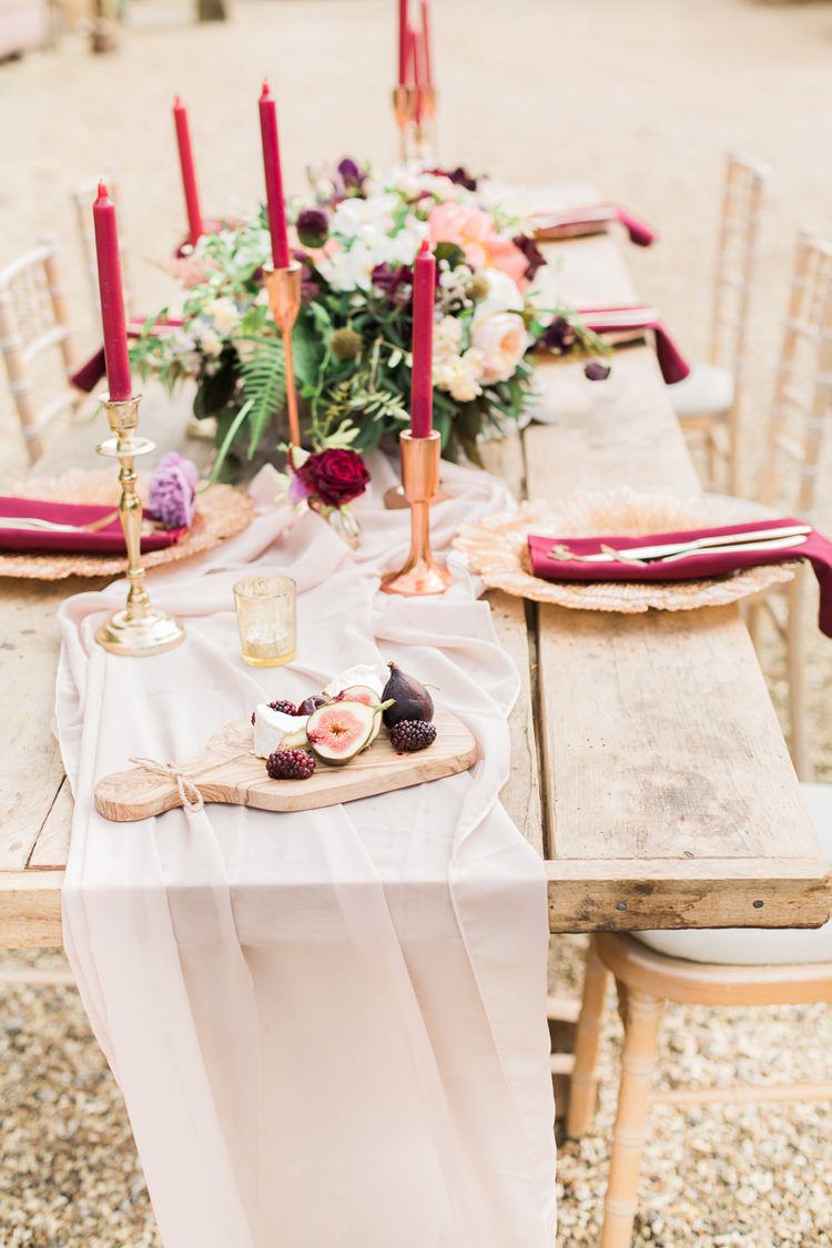 Copper Rustic Tables Candles Flowers Burgundy Fine Art Bohemian Luxe Wedding Ideas http://jessicadaviesphotography.co.uk/