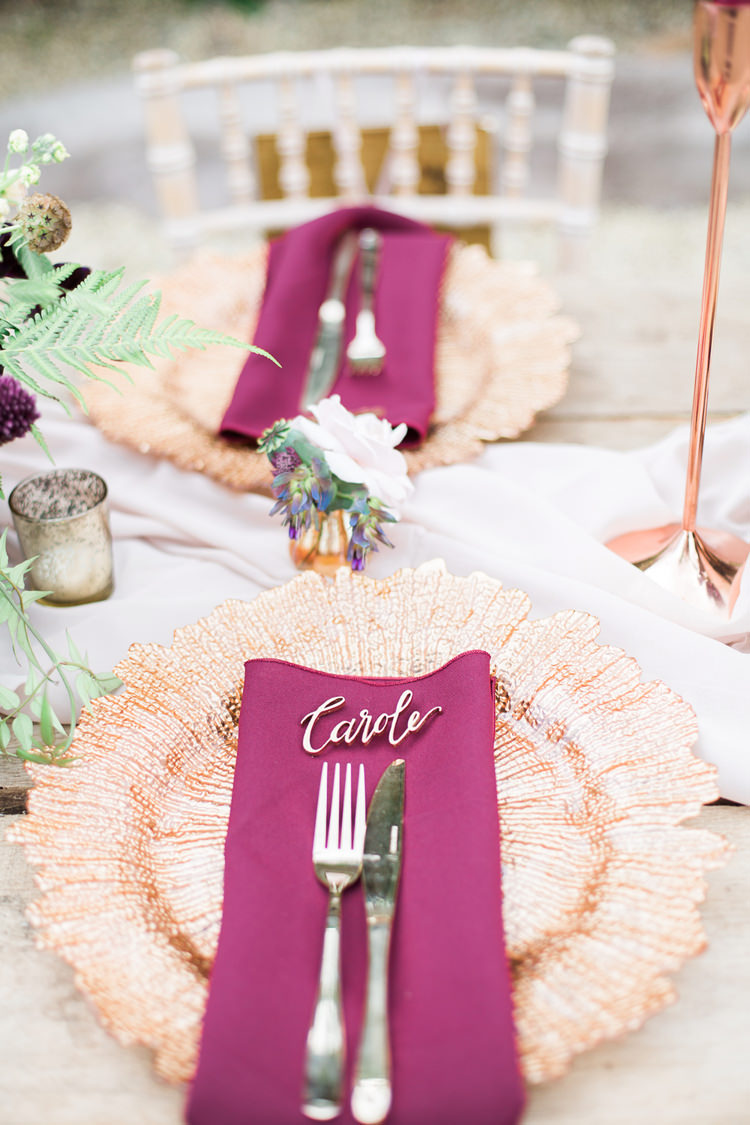 Placec Setting Names Gold Copper Rose Burgundy Decor Fine Art Bohemian Luxe Wedding Ideas http://jessicadaviesphotography.co.uk/