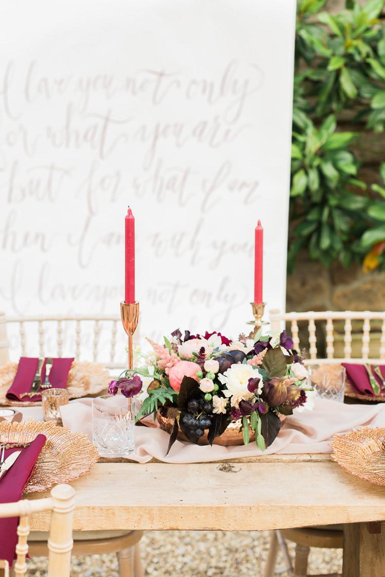 Whimsical Flowers Decor Centrepeice Masala Burgundy Gold Fine Art Bohemian Luxe Wedding Ideas http://jessicadaviesphotography.co.uk/