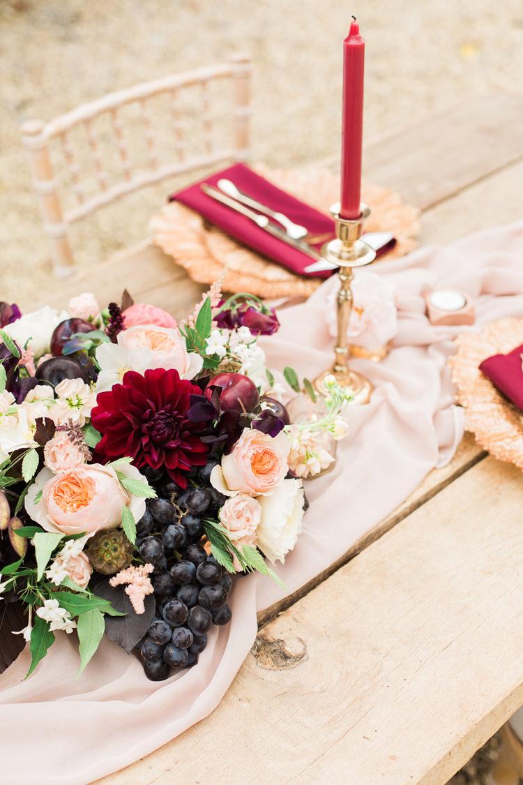 Peach Blush Masala Burgundy Flowers Centrepiece Berries Fine Art Bohemian Luxe Wedding Ideas http://jessicadaviesphotography.co.uk/