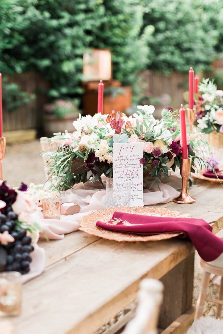 Flowers Candles Decor Table Copper Gold Burgundy Masala Peach Fine Art Bohemian Luxe Wedding Ideas http://jessicadaviesphotography.co.uk/