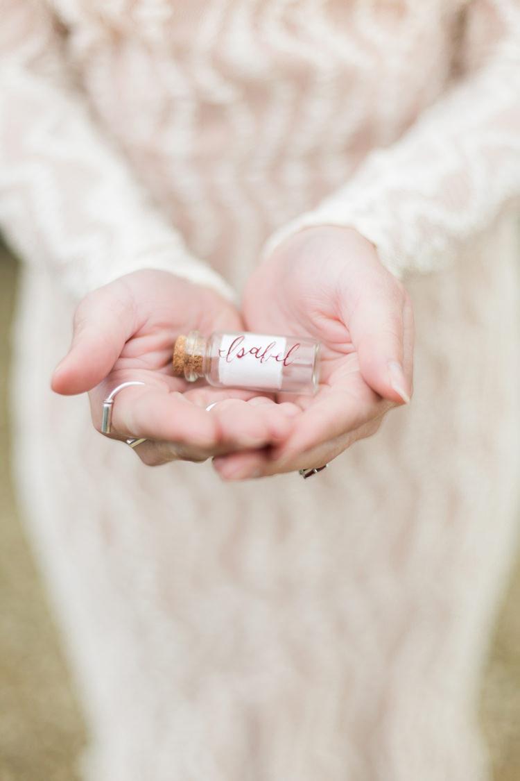 Favour Message Bottles Fine Art Bohemian Luxe Wedding Ideas http://jessicadaviesphotography.co.uk/