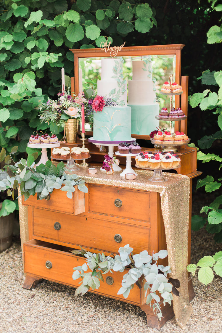 Furniture Chest Drawers Dessert Cake Table Fine Art Bohemian Luxe Wedding Ideas http://jessicadaviesphotography.co.uk/