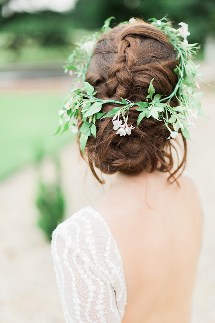 Hair Bride Bridal Plait Braid Style Flower Vine Crown Fine Art Bohemian Luxe Wedding Ideas http://jessicadaviesphotography.co.uk/