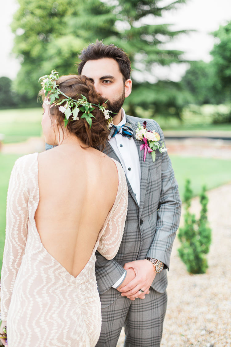 Backless Dress Gown Bride Bridal Sleeves Fine Art Bohemian Luxe Wedding Ideas http://jessicadaviesphotography.co.uk/