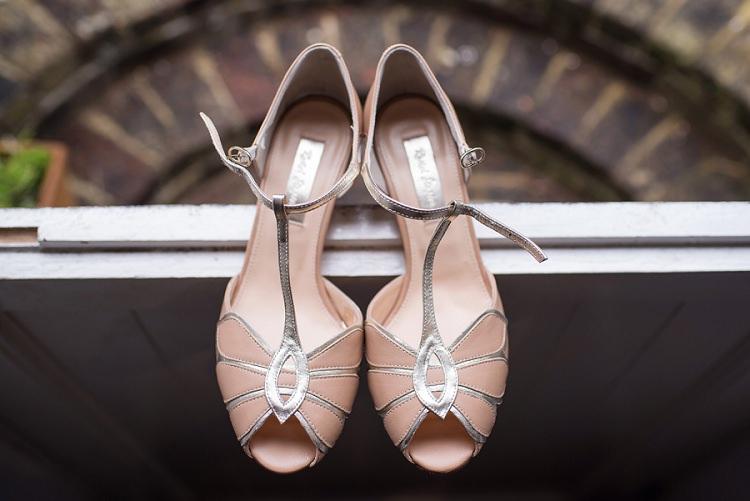 Peach Peep Toe T Bar Shoes Bride Bridal Stylish Floral Barn Wedding http://www.sarareeve.com/