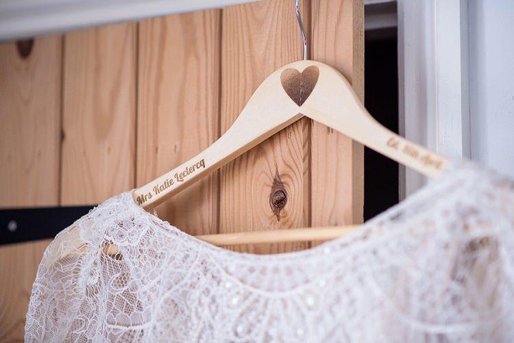 Custom Dress Hanger Bride Bridal Stylish Floral Barn Wedding http://www.sarareeve.com/