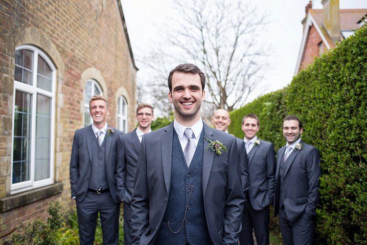 Grey Topman Suit Groom Groomsmen Waistcoat Stylish Floral Barn Wedding http://www.sarareeve.com/