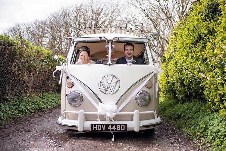 VW Campervan Transport Stylish Floral Barn Wedding http://www.sarareeve.com/