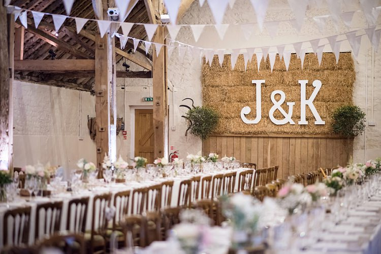 Bunting Letters Bales Stylish Floral Barn Wedding http://www.sarareeve.com/