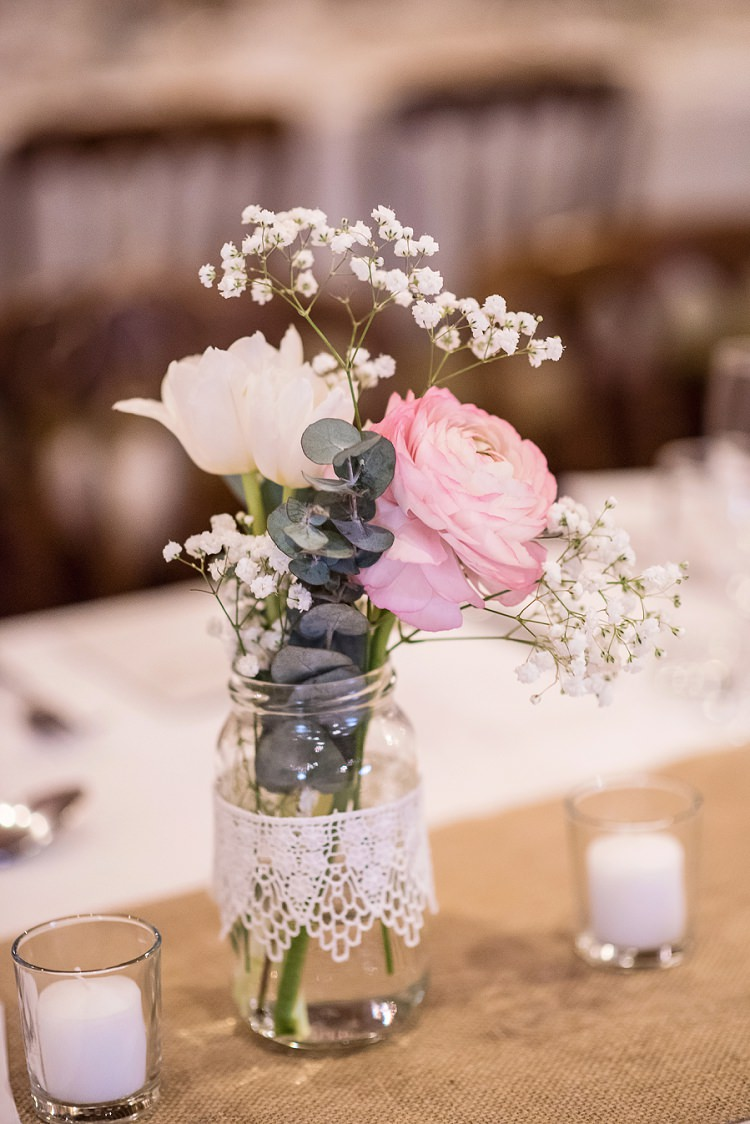 Lace Jar Flowers Hessian Burlap Decor Centrepiece Stylish Floral Barn Wedding http://www.sarareeve.com/
