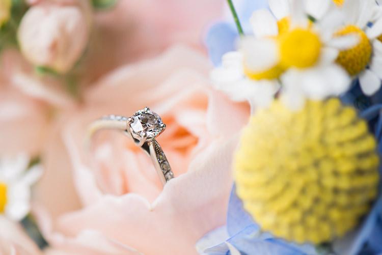 Diamond Princess Engagement Ring Pretty Home Made Pastel Floral Wedding http://www.stephanieswannweddings.co.uk/