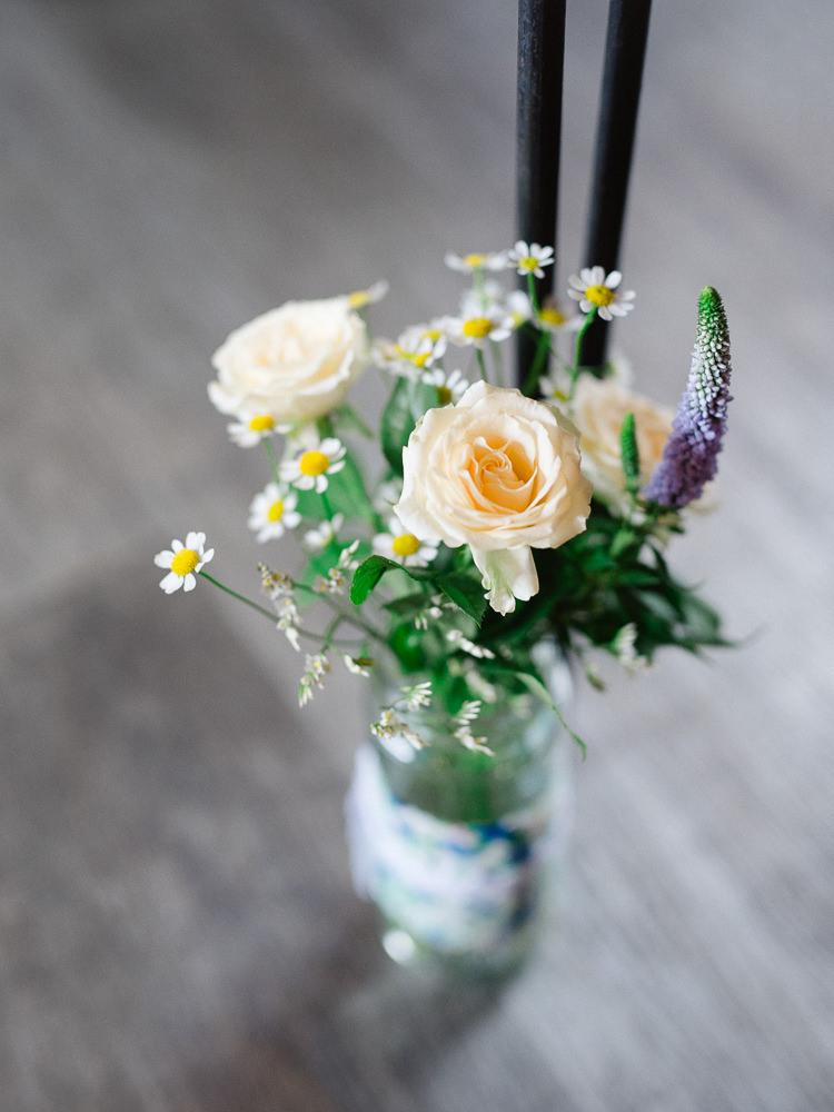 Rose Daisy Ceremony Aisle Jars Flowers Pretty Home Made Pastel Floral Wedding http://www.stephanieswannweddings.co.uk/