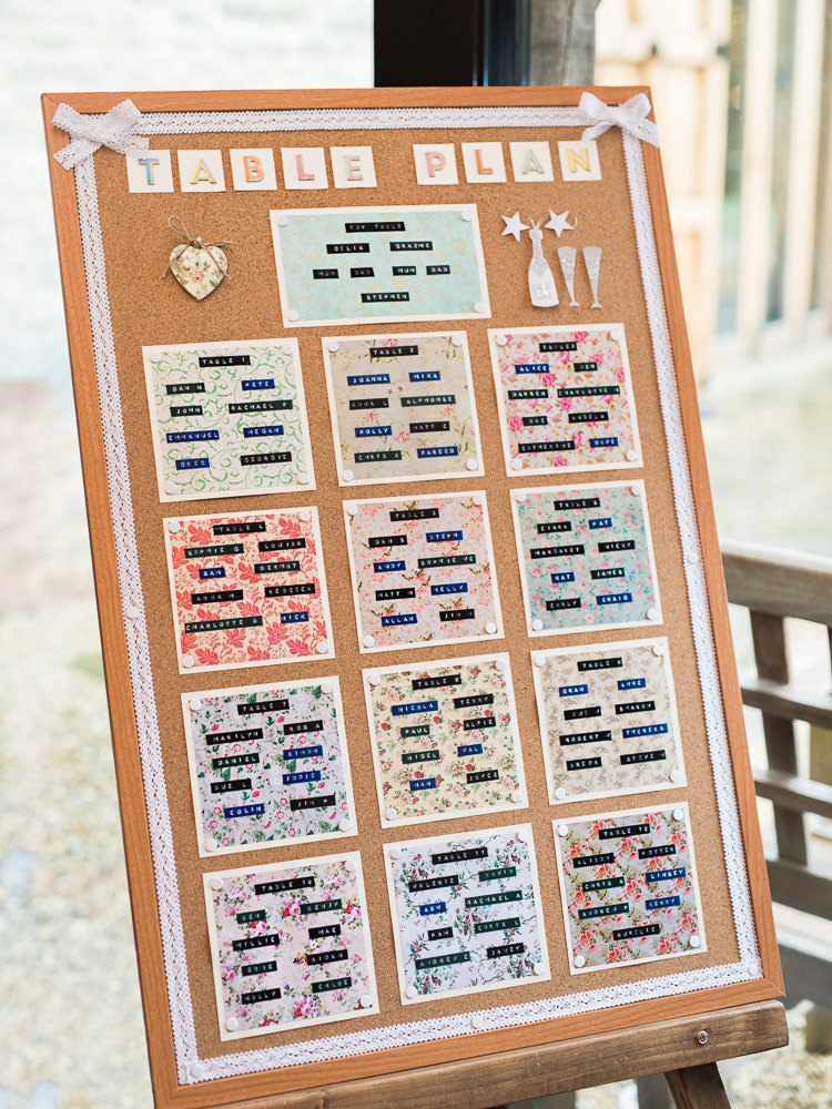 Cork Board Seating Plan Table Chart Pretty Home Made Pastel Floral Wedding http://www.stephanieswannweddings.co.uk/