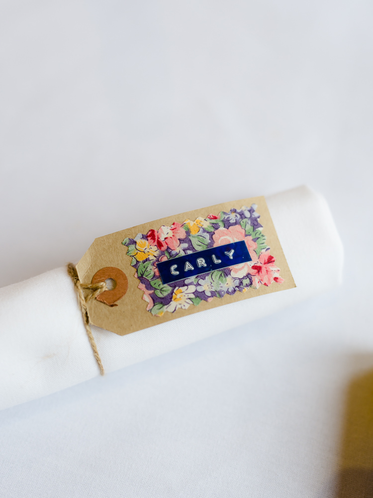 Luggage Tag Place Setting Pretty Home Made Pastel Floral Wedding http://www.stephanieswannweddings.co.uk/