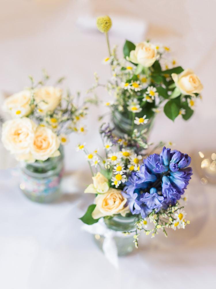 Flowers Jars Yellow Rose Daisy Pretty Home Made Pastel Floral Wedding http://www.stephanieswannweddings.co.uk/