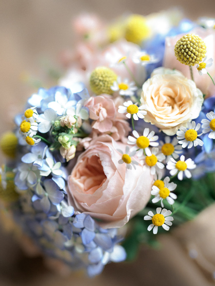 Daisies Roses Billy Balls Hydrangeas Pink Yellow Blue Flowers Bouquet Bride Bridal Spring Pretty Home Made Pastel Floral Wedding http://www.stephanieswannweddings.co.uk/